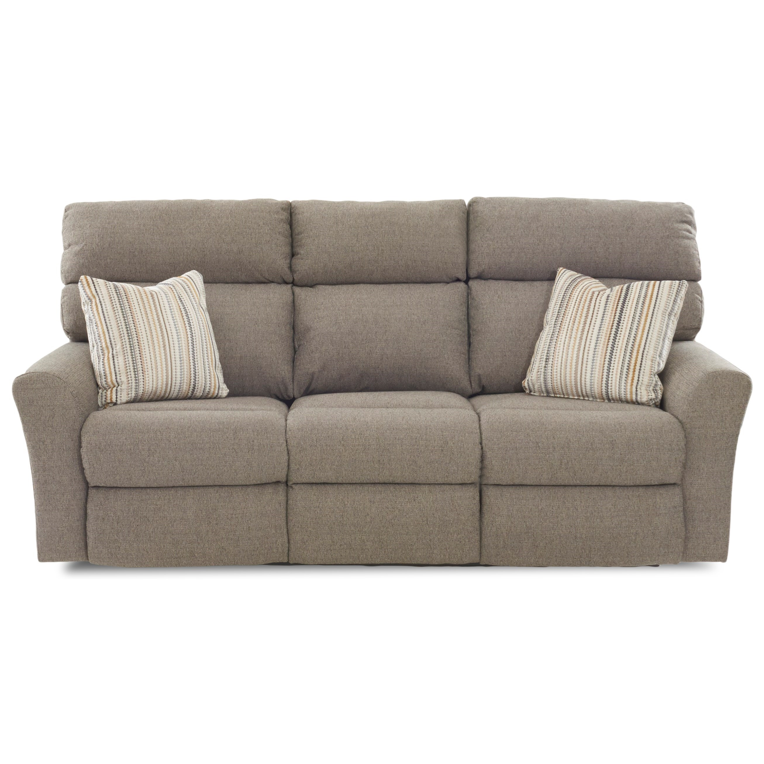 Casual Three Recliner Sofa with Two Power Recliners and Toss Pillows