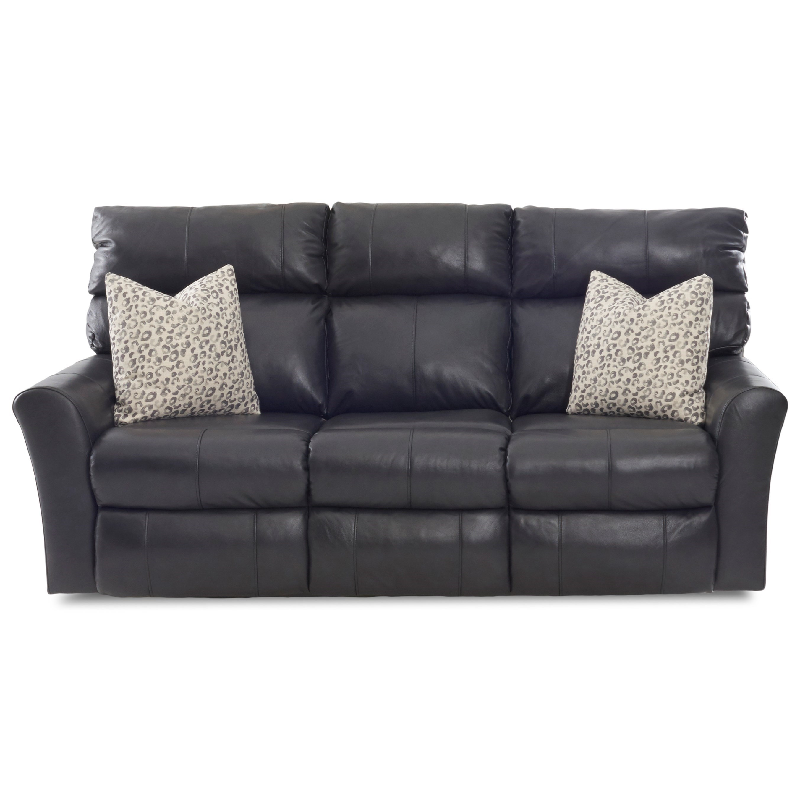 Casual Reclining Sofa (2 Recliners) with Toss Pillows