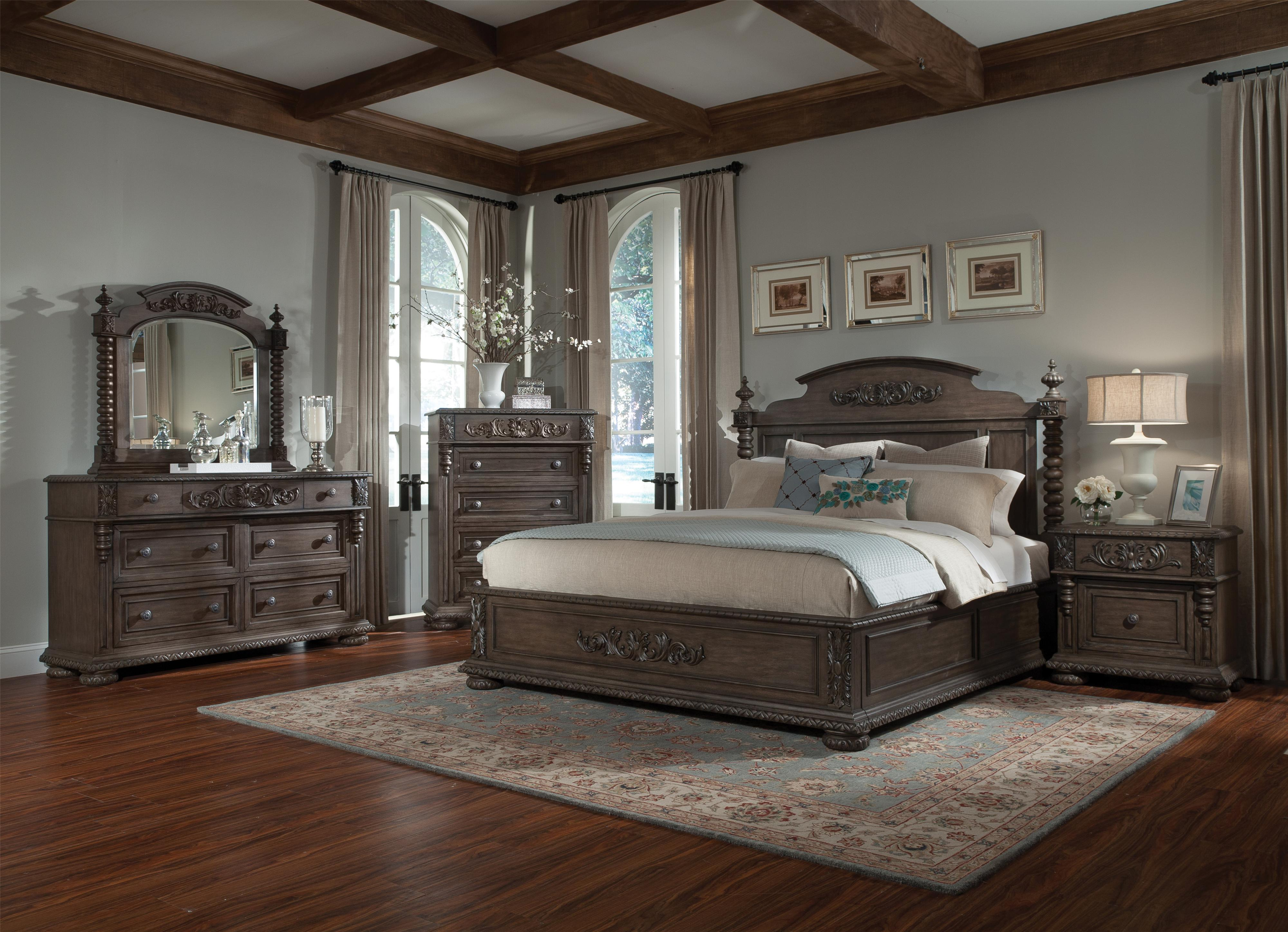 Bedroom Furniture Virginia king bed with bun feet and carved detailssimple elegance