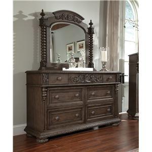 Simple Elegance Versailles Dresser and Mirror Set