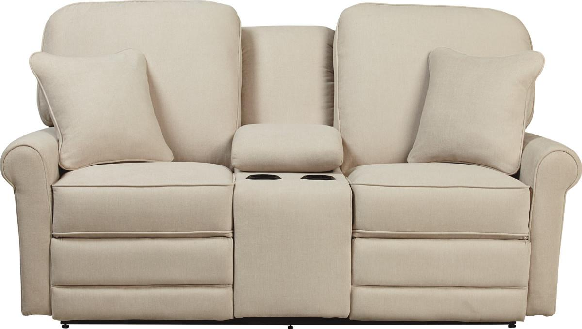 Transitional Reclining Loveseat With Cupholder And Storage Console