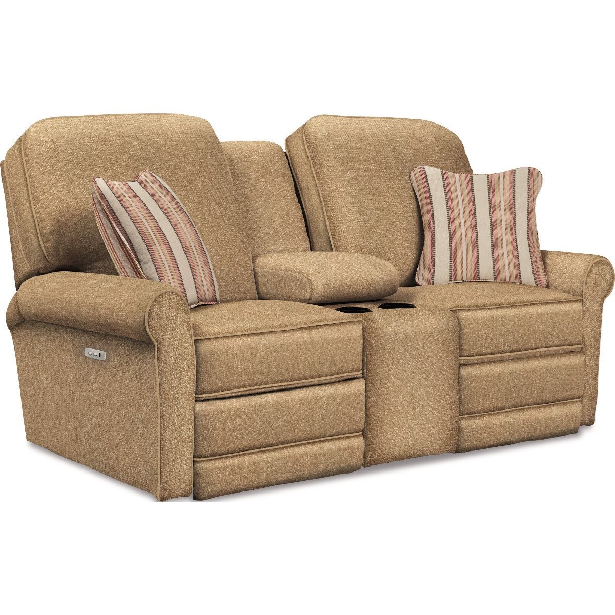 Transitional Power Reclining Loveseat with Cupholder and Storage Console
