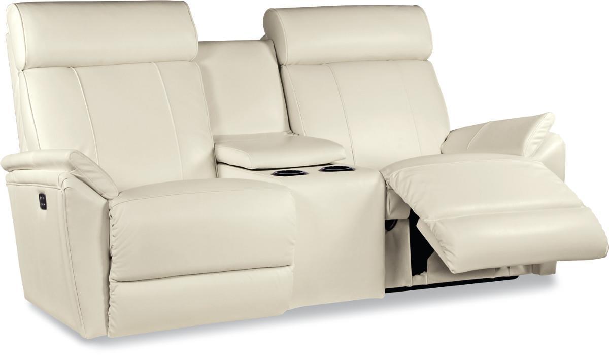 contemporary powerreclinexrw™ full reclining loveseat with  - contemporary powerreclinexrw™ full reclining loveseat with cupholder andstorage console