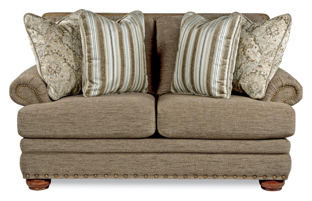 Traditional Loveseat with Comfort Core Cushions and Two Sizes of ...