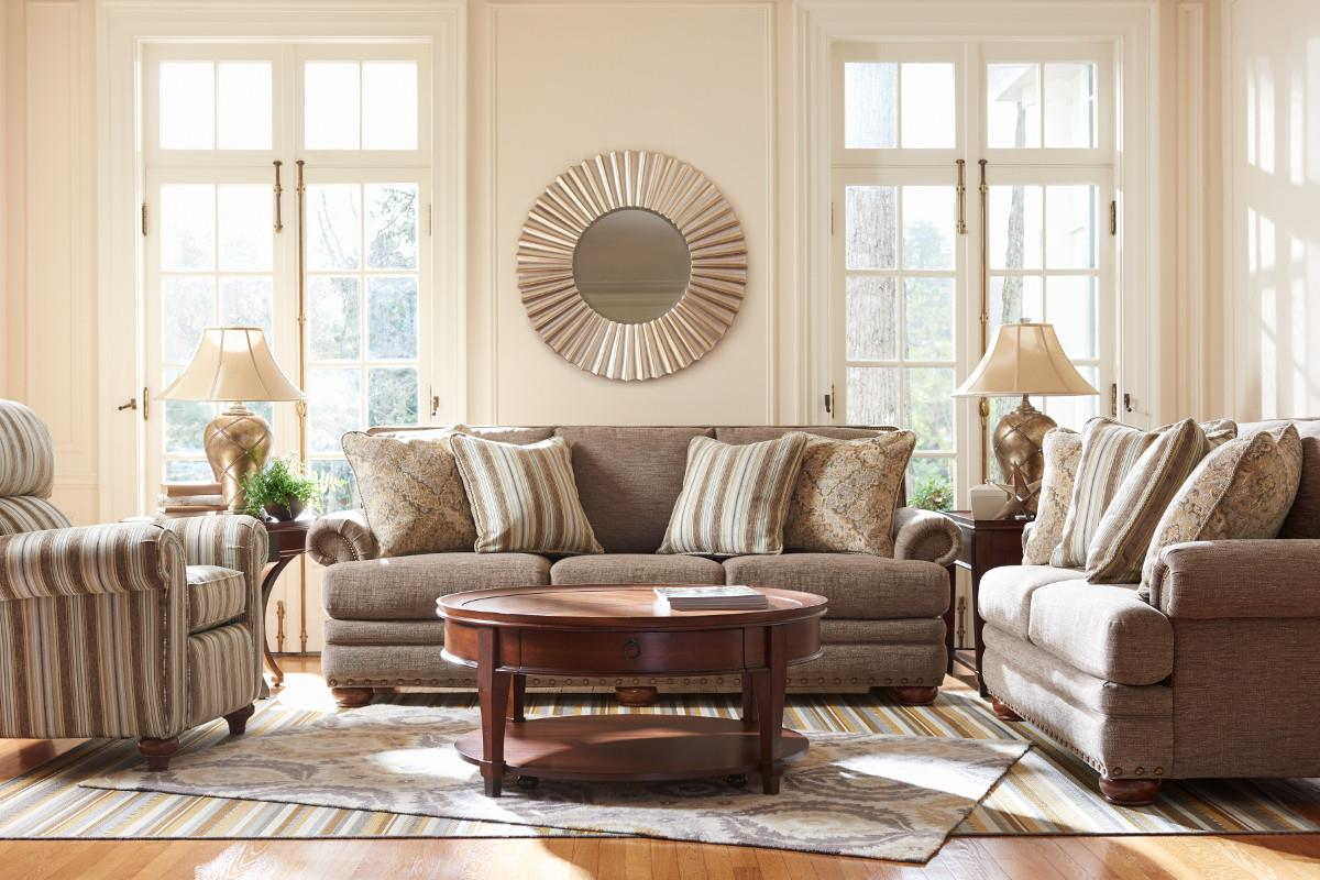 Traditional Loveseat With Comfort Core Cushions And Two Sizes Of Nailhead.  By La Z Boy