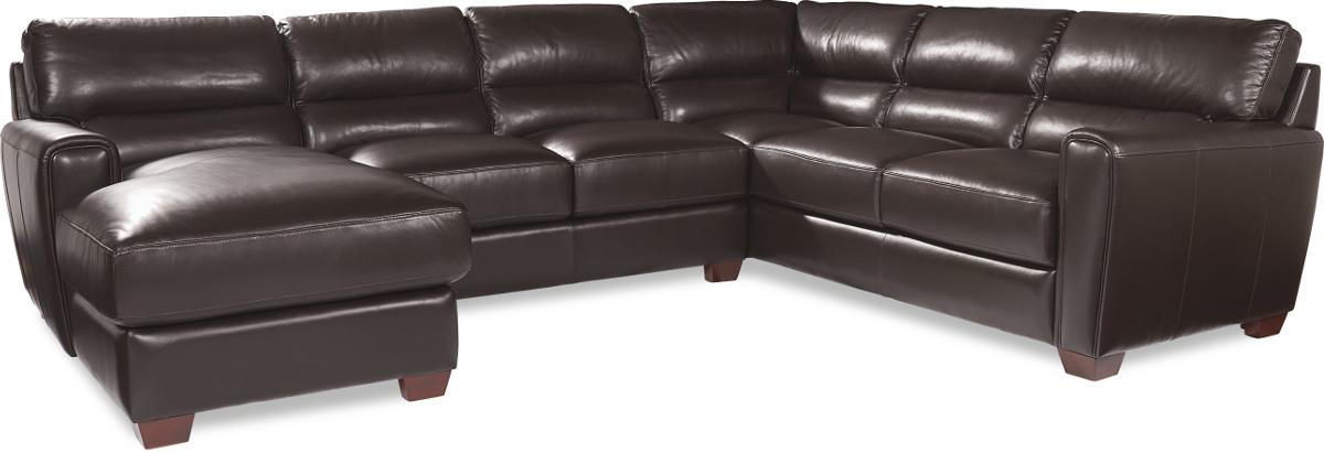 Three Piece Contemporary Leather Sectional Sofa with LAF Chaise  sc 1 st  Wolf Furniture : lazy boy leather sectionals - Sectionals, Sofas & Couches