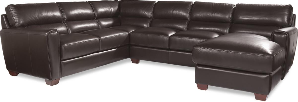 Three Piece Contemporary Leather Sectional Sofa with RAF Chaise  sc 1 st  Wolf Furniture : lazy boy leather sectional - Sectionals, Sofas & Couches