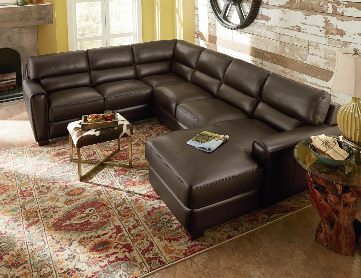 Three piece contemporary leather sectional sofa with raf for 3 piece chaise sectional
