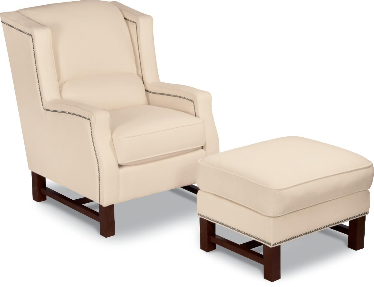 Wing chair with ottoman - Cosmopolitan Transitional Wing Chair And Ottoman With Nailhead Studs