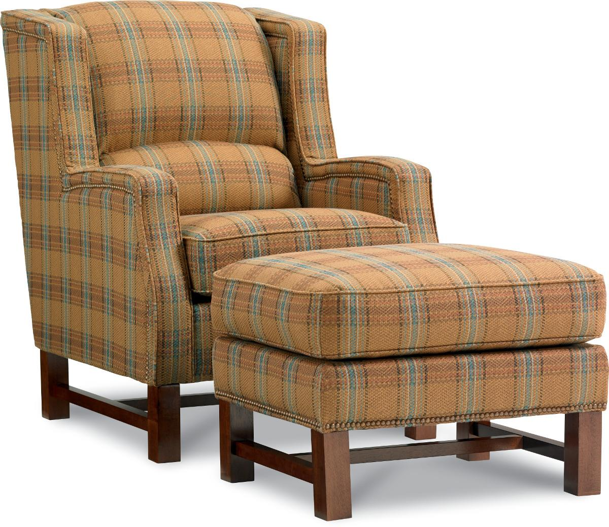 Cosmopolitan Transitional Wing Chair and Ottoman with Nailhead Studs