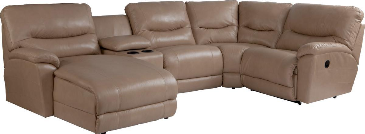 Casual five piece reclining sectional sofa with ras chaise for Amazon sectional sofa with chaise