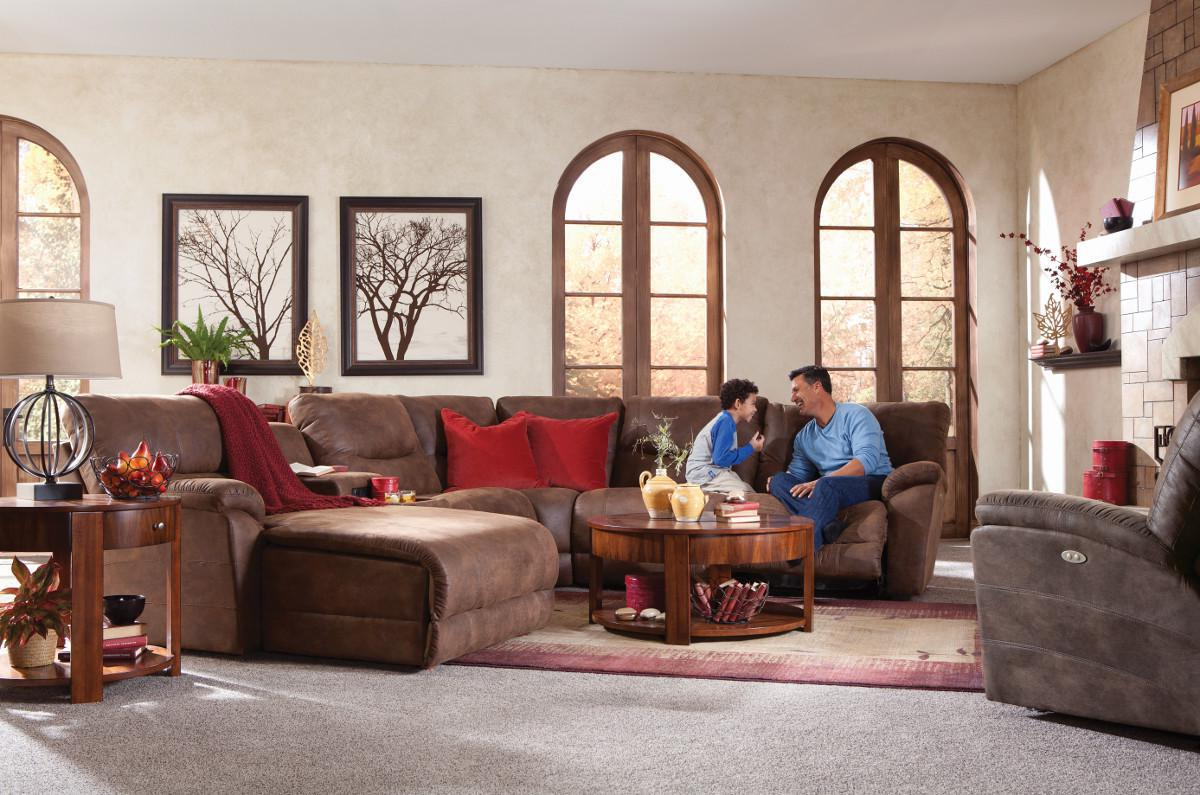 Casual Six Piece Power Reclining Sectional Sofa With Las
