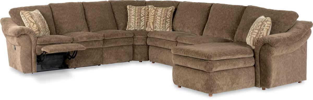 5 Piece Power Reclining Sectional with Left Arm Chaise and 2 Recliners
