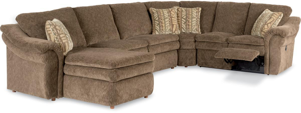 5 Piece Sectional With Ras Chaise And 2 Recliners By La Z