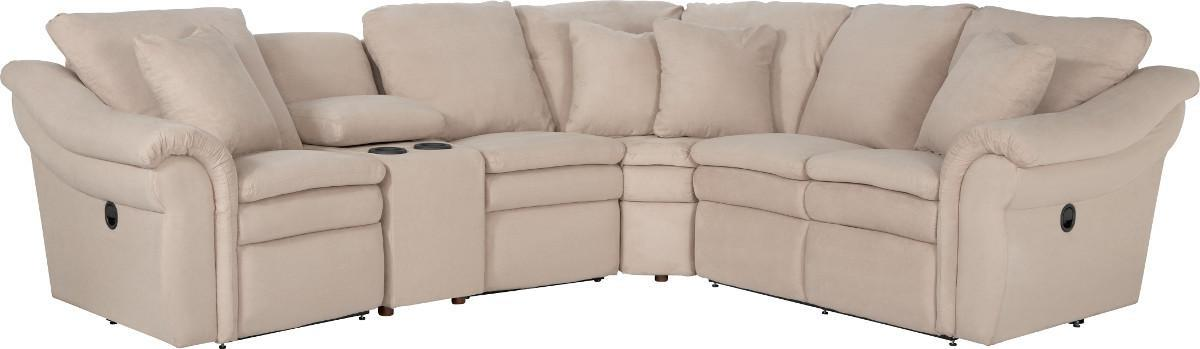 5 Pc Reclining Sectional Sofa with Cupholders and RAS Recliner