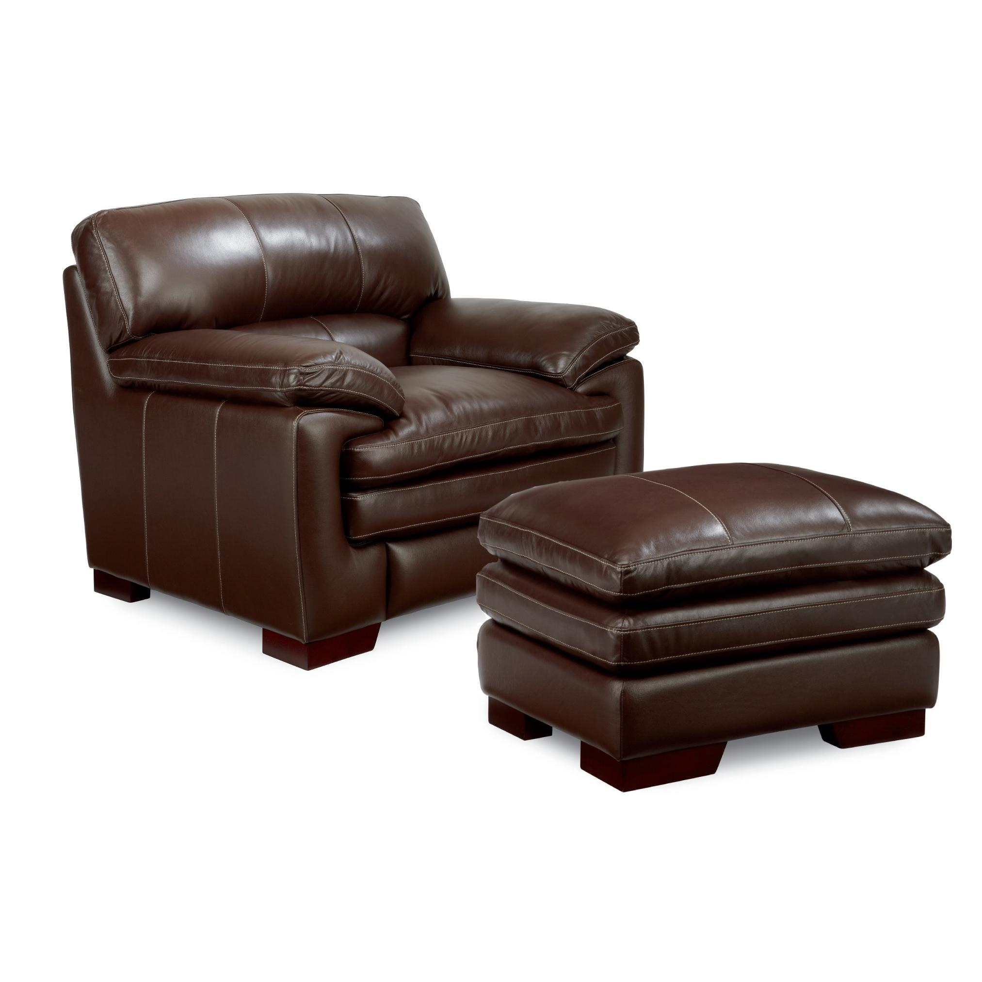 Casual Upholstered Stationary Chair And Ottoman Set