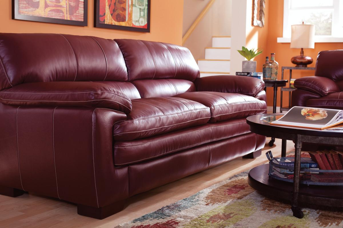 Casual Stationary Sofa With Pillow Top Arms And Seat By La Z Boy  ~ Leather Sofa Pillow Top Arms