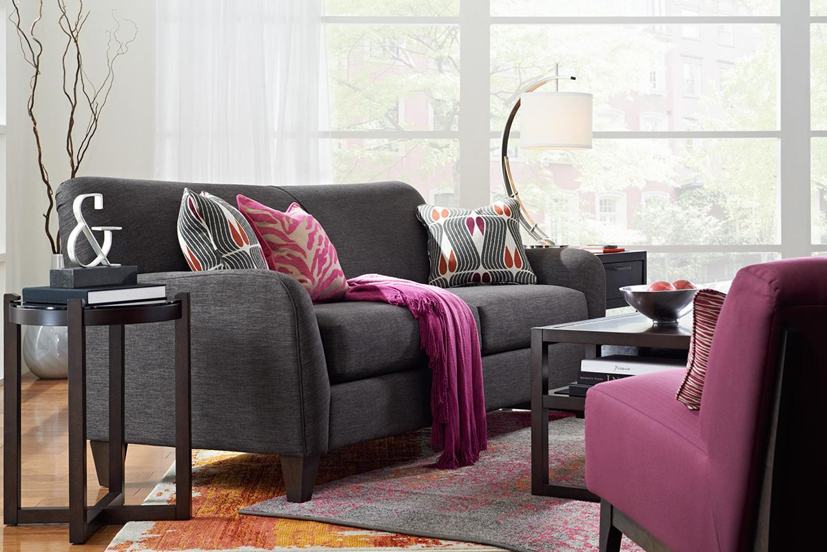 Premier Contemporary Sofa with Tapered Wood Legs by La Z Boy Wolf