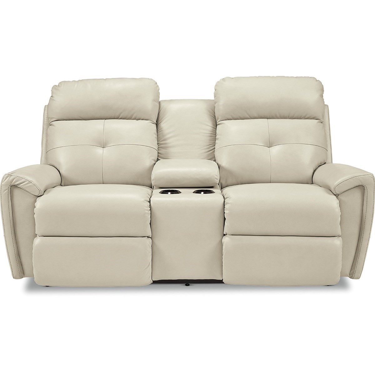 Contemporary Power Reclining Console Loveseat with USB Charging Ports and Power Tilt Headrests