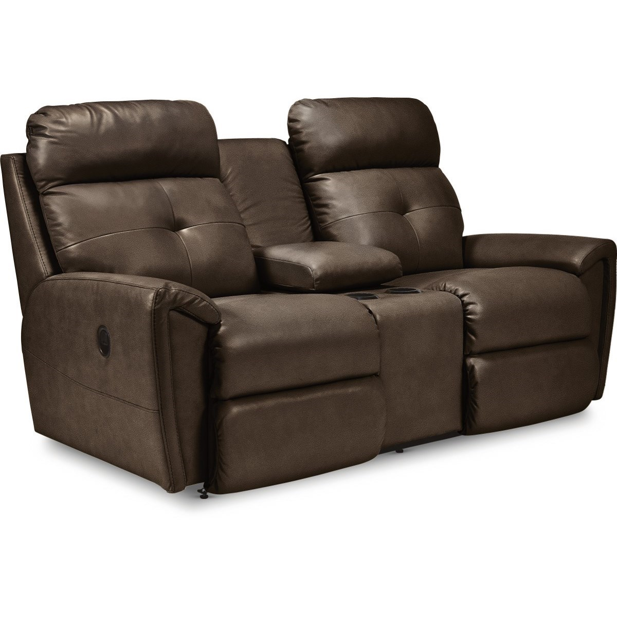Contemporary Reclining Loveseat with Cupholder Storage Console