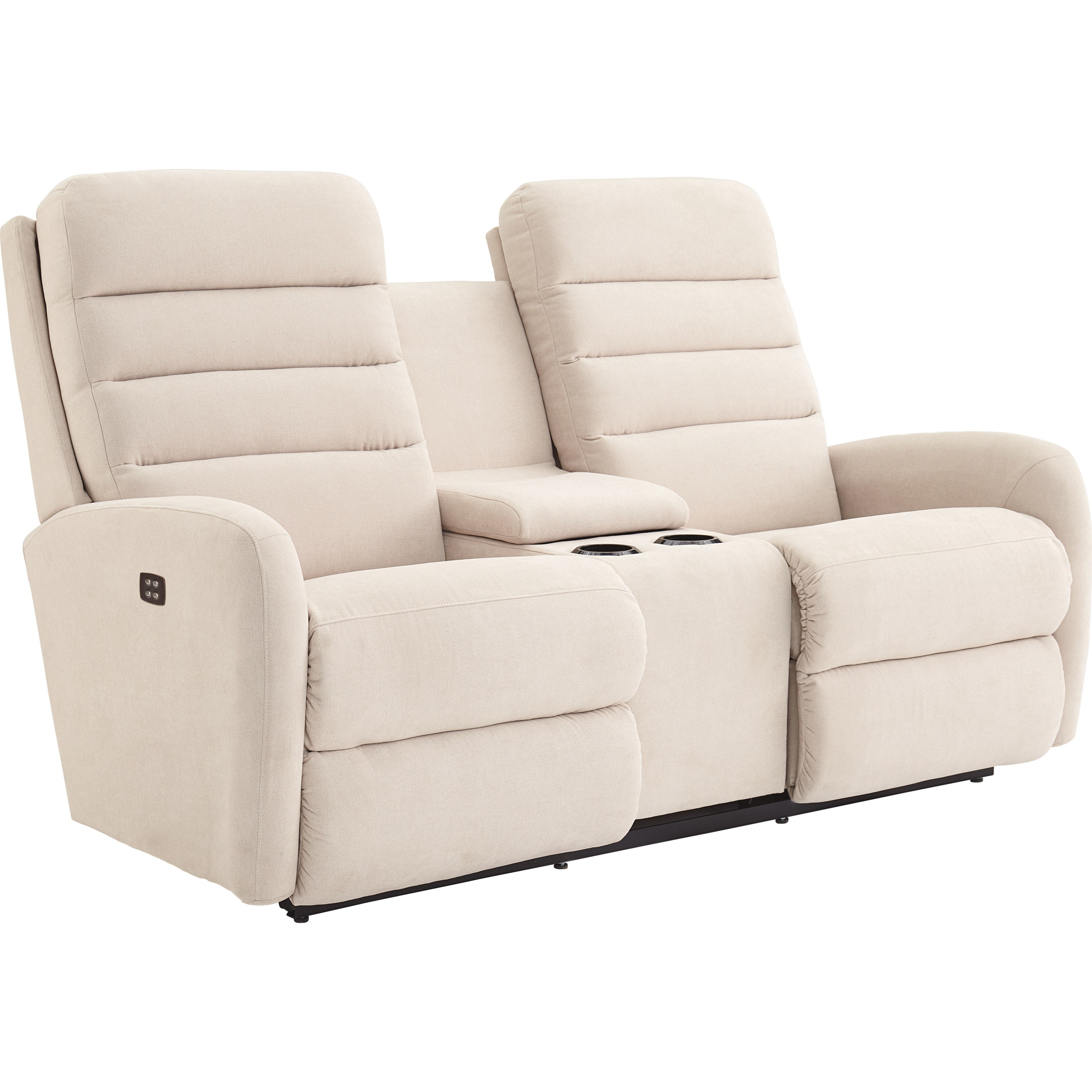 Contemporary Reclining Loveseat with Drink Storage Console