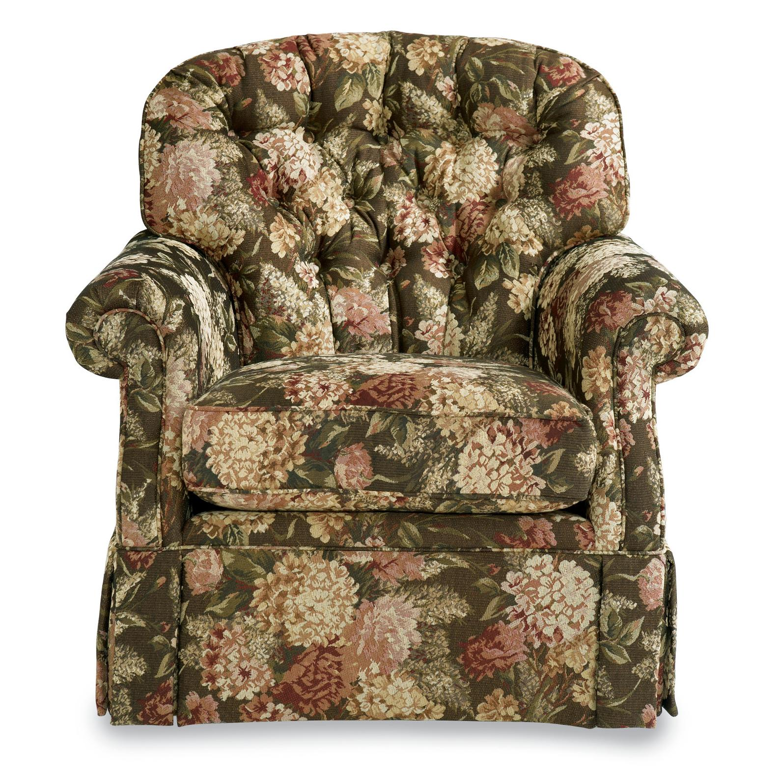 Traditional Swivel Rocker With Tufted Back And Kick Pleat