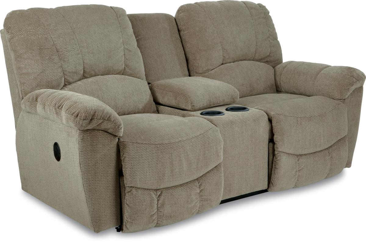 Casual Power La Z Time Full Reclining Loveseat With Middle Console And Channel Stitched Back By