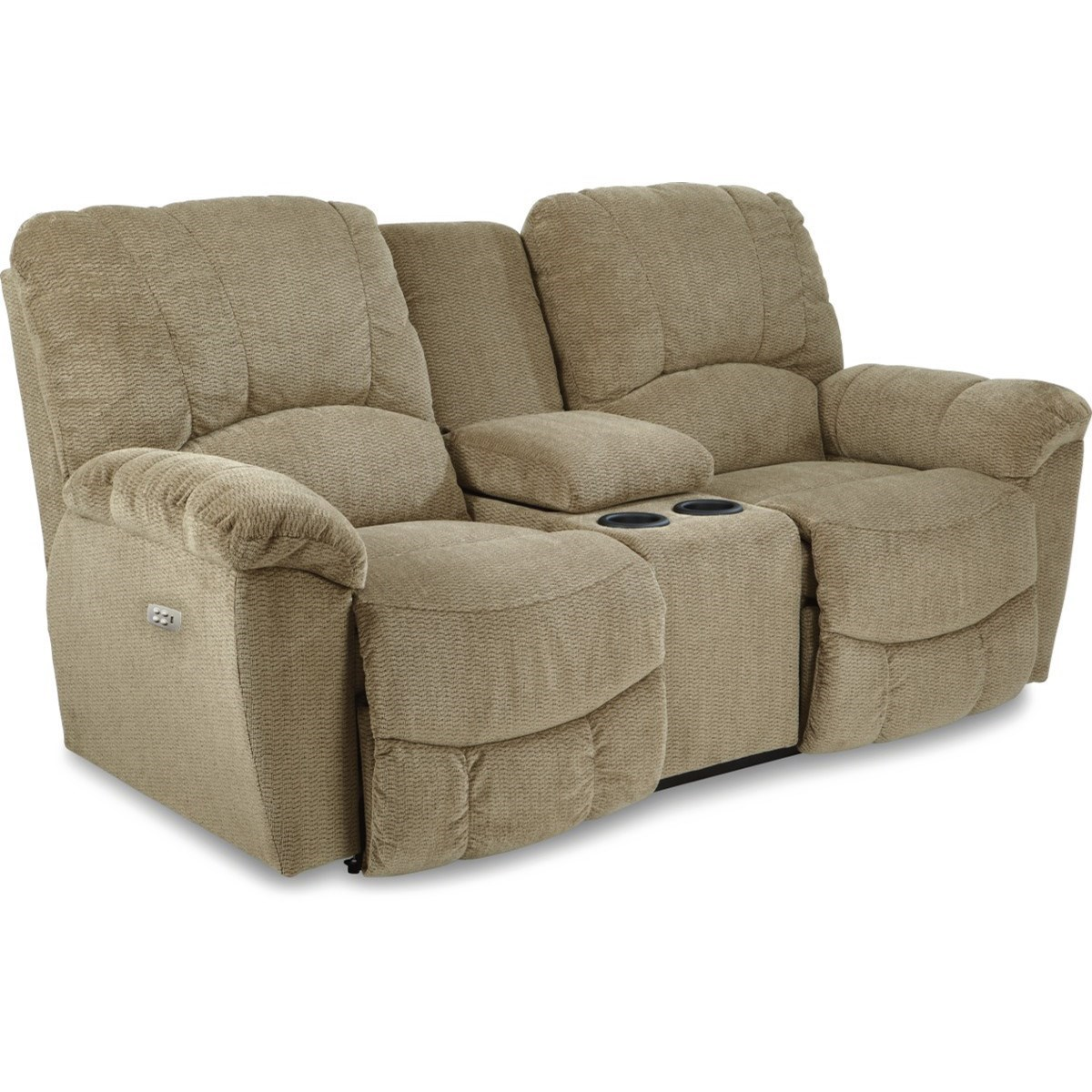 Casual Power La-Z-Time®Full Reclining Loveseat with Middle Console and Channel-Stitched Back