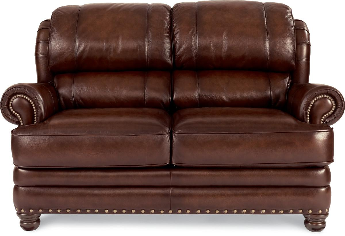 Traditional Leather Loveseat With Rolled Arms And Nail Head Trim By La Z Boy Wolf And Gardiner