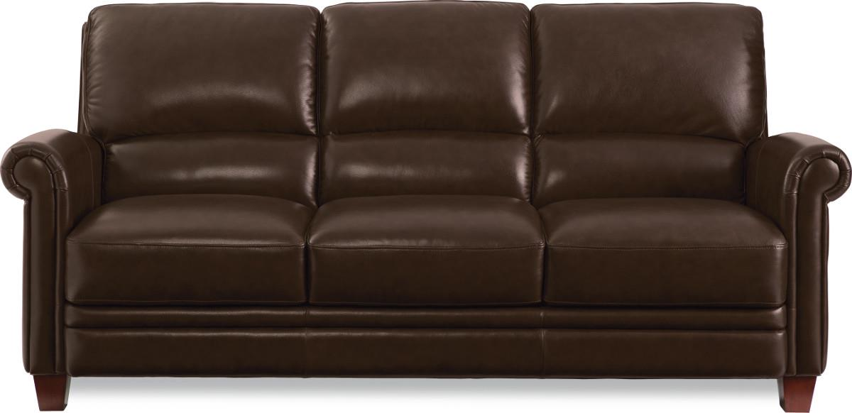 Leather Sofa With Bustle Back And Rolled Arms