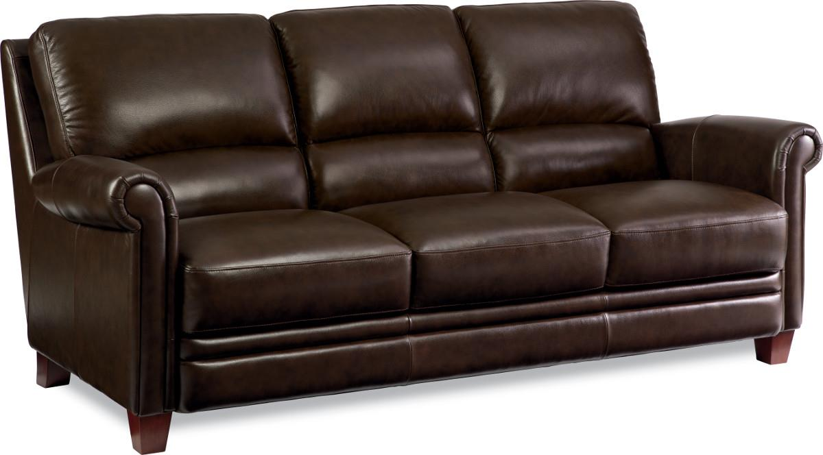 Leather Sofa With Bustle Back And Rolled Arms. By La Z Boy