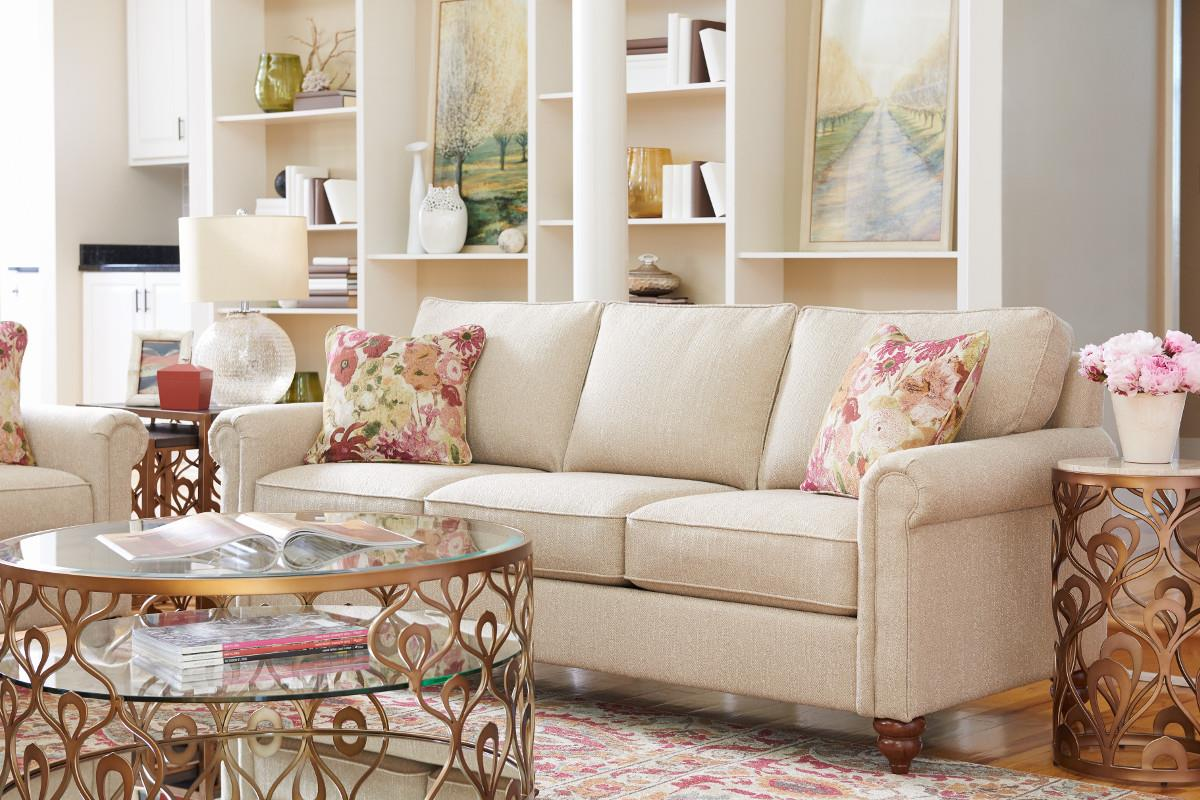 traditional rolled arm sofa with premier comfort core cushions by