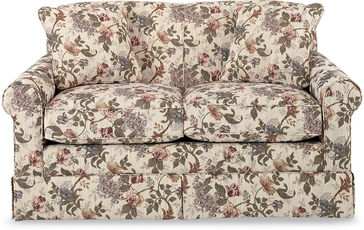 Upholstered Love Seat with Skirted Base