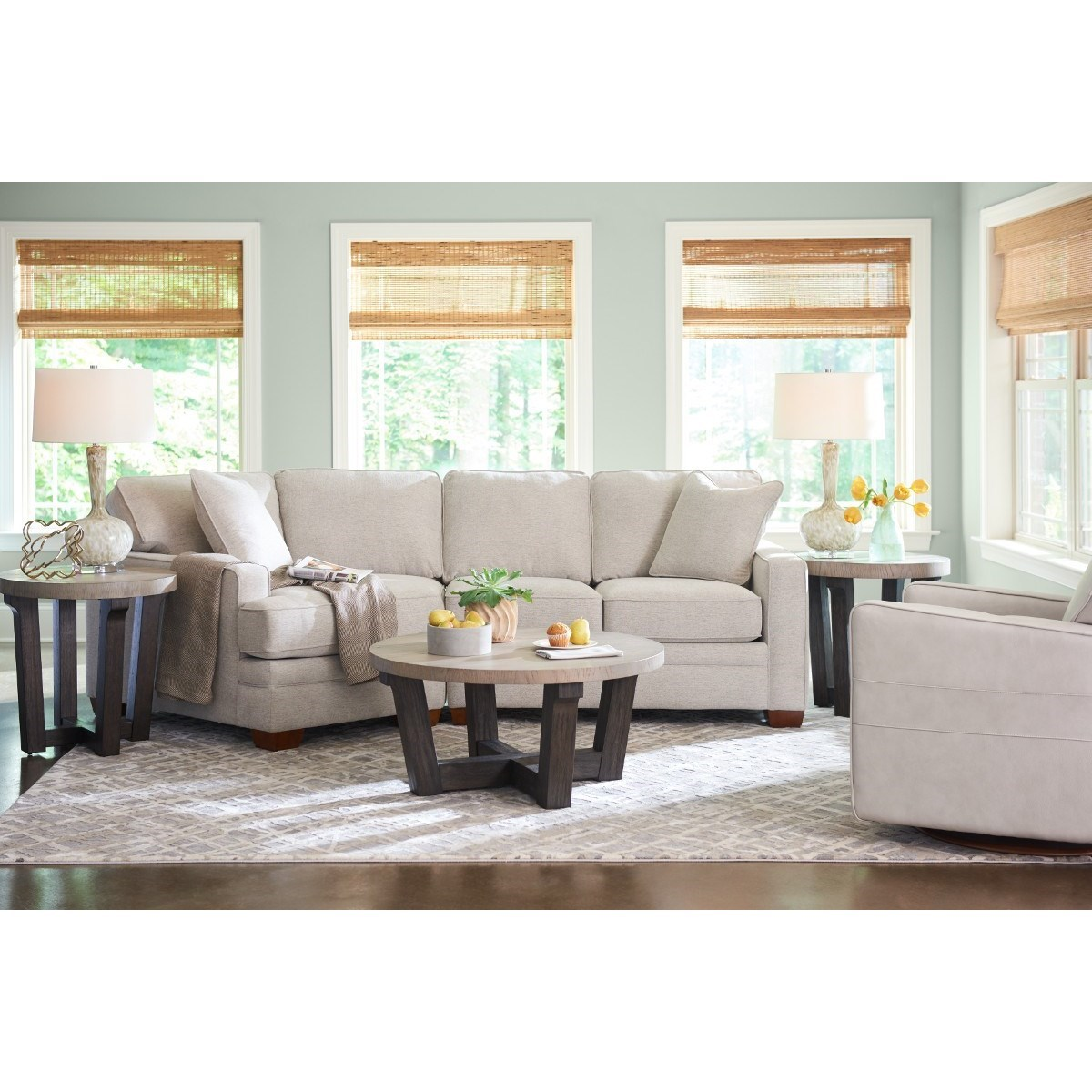 Contemporary 2-Piece Sectional with Right-Sitting Cuddler