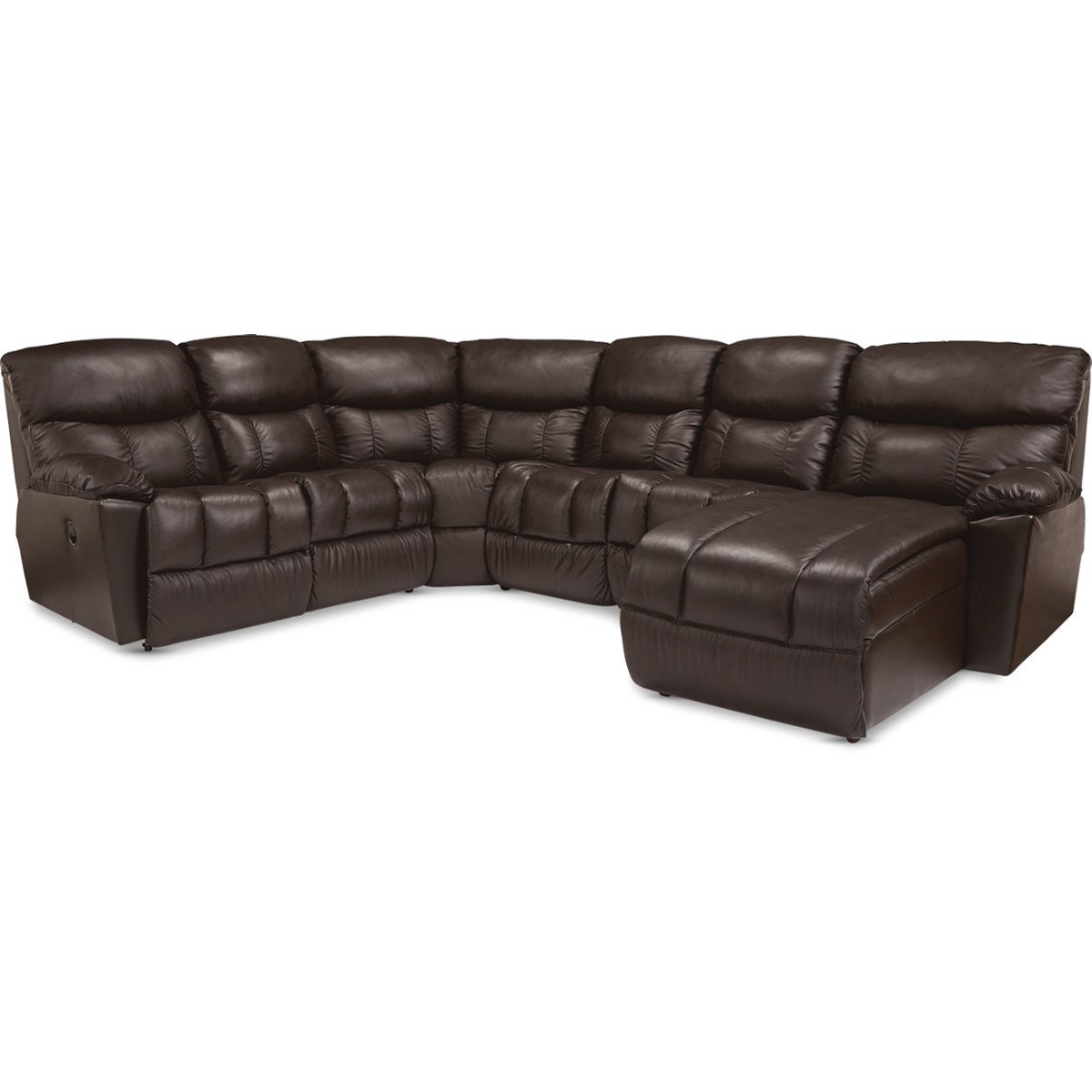Casual 5-Seat Power Reclining Sectional Sofa with 1 Power Headrest Recliner and RAF Reclining Chaise