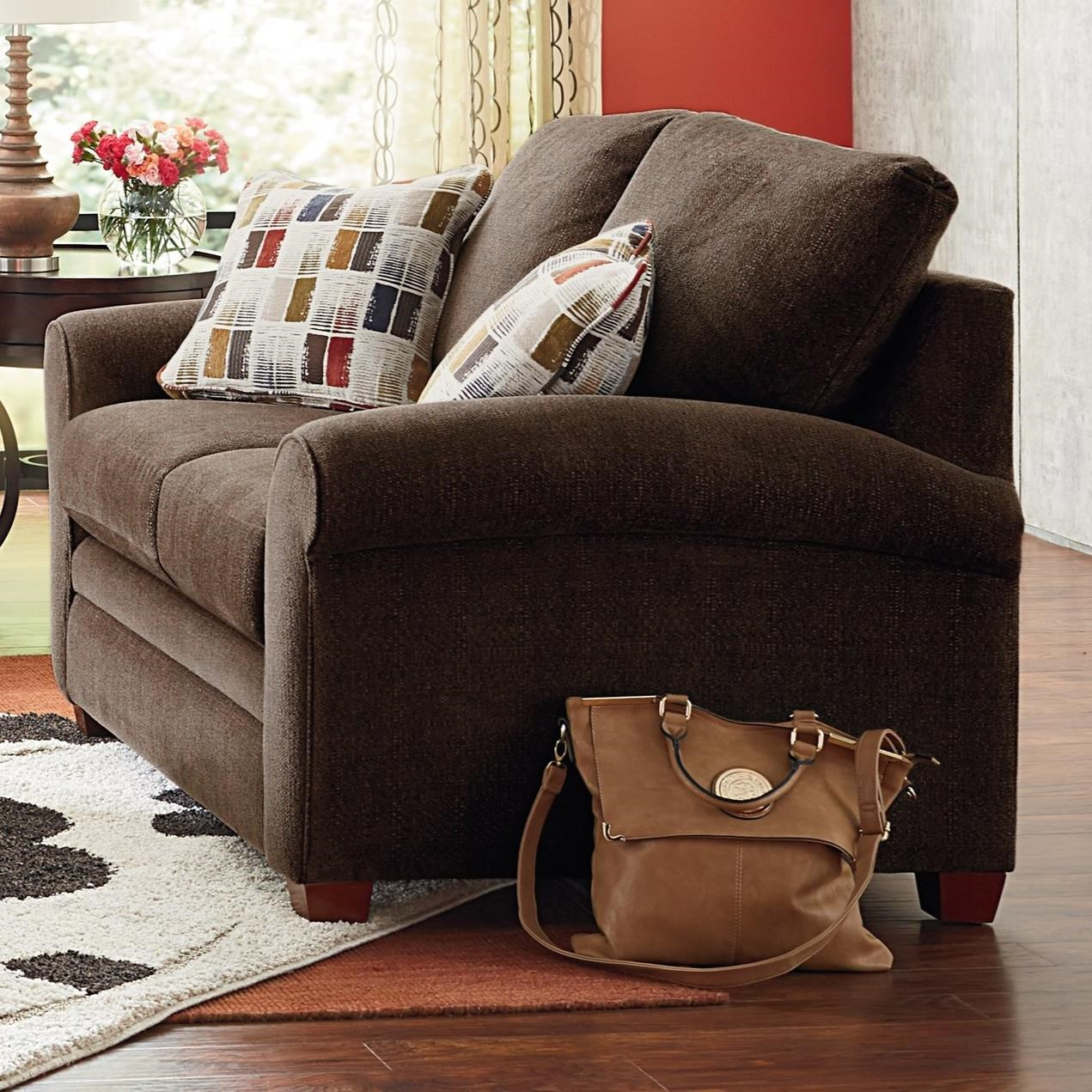 Transitional Stationary Loveseat with Sock Arms