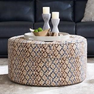 Roundabout Ottoman Button-Tufted Cocktail Ottoman with Casters