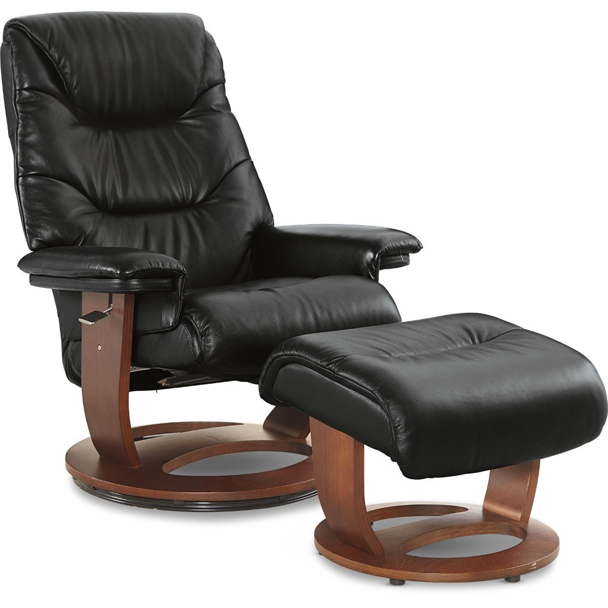 Contemporary European-Inspired Leather Reclining Chair and Ottoman with Walnut Finish