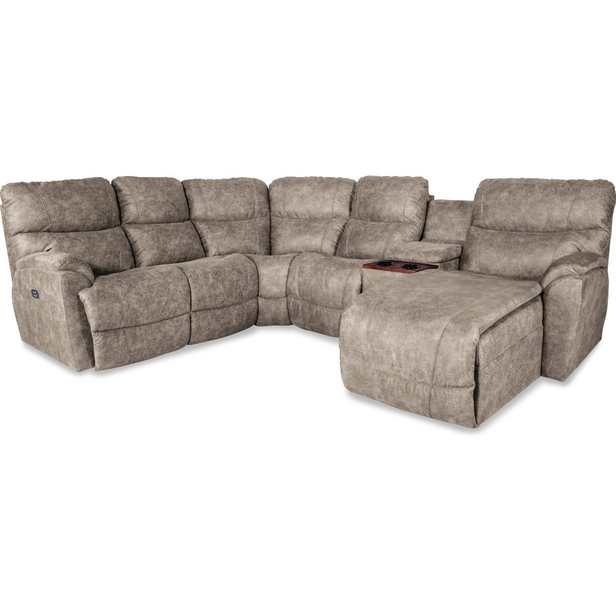 Five Piece Reclining Sofa with Left Sitting Tilt-Back Chaise and Cupholder Storage Console