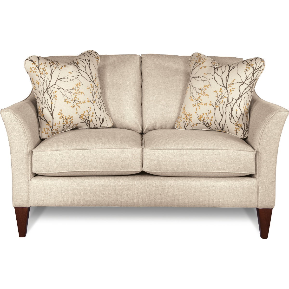 Contemporary Loveseat with Flared Arms and ComfortCore Cushions