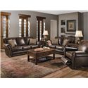Lane Benson  Loveseat with Nailhead Trim - Shown with Stationary Sofa and Recliner
