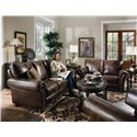 Lane Benson  Loveseat with Nailhead Trim - Shown with Stationary Sofa