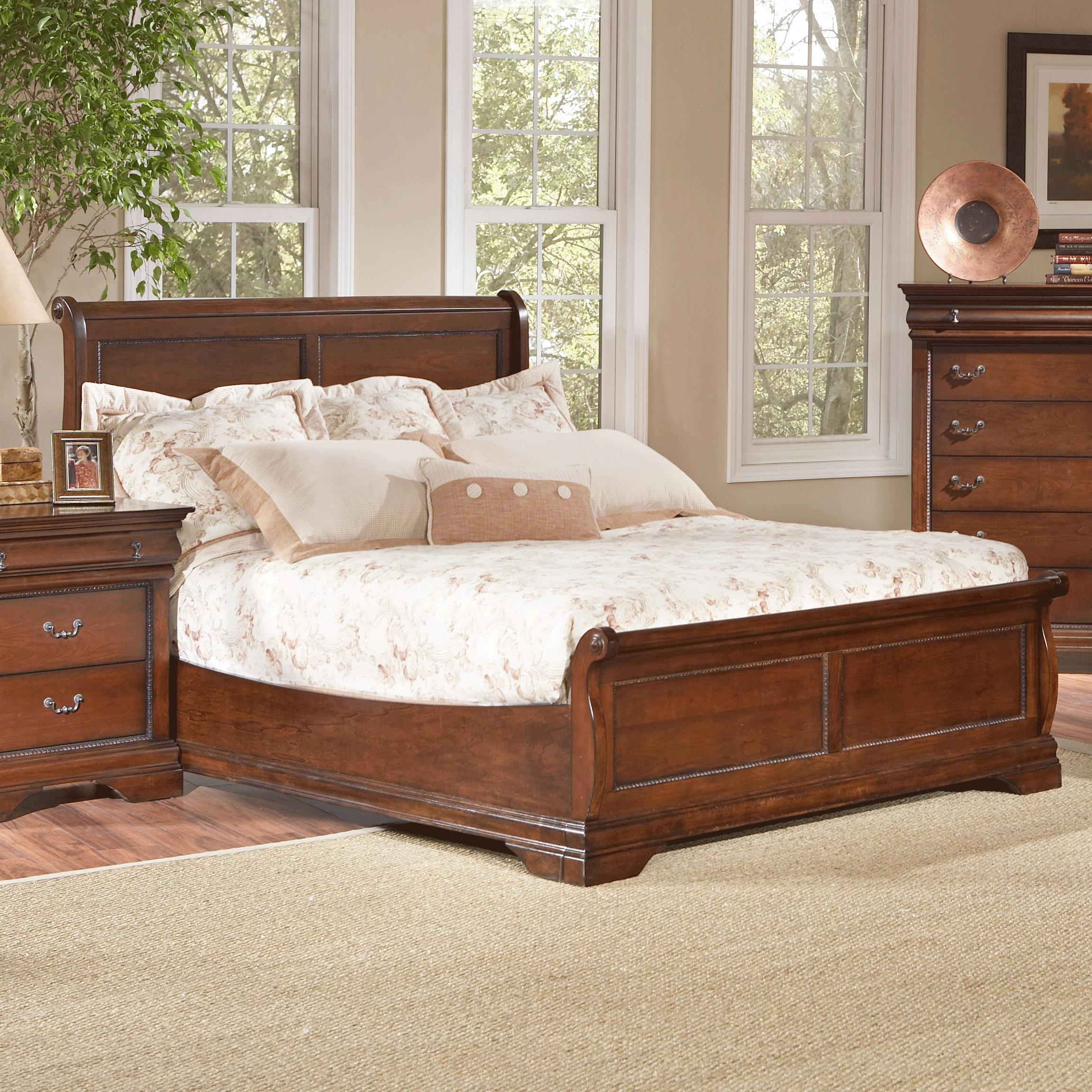 Largo Bedroom Furniture Traditional King Low Profile Sleigh Bed With Dentil Molding And
