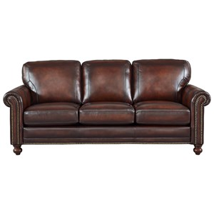 Traditional Leather Sofa with Nailhead Trim