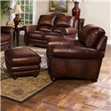 Leather Italia USA James Traditional Leather Ottoman with Bun Wood Feet and Nailhead Trim - Shown with Chair