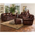 Leather Italia USA James Traditional Leather Ottoman with Bun Wood Feet and Nailhead Trim - Shown with Sofa, Loveseat and Chair