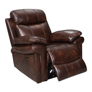Top Grain Leather Recliner with Power Headrest