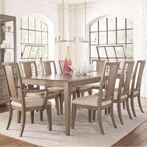 9 Piece Rectangular Table and Chair Set with Leaf