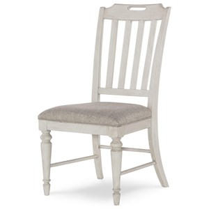 Slat Back Side Chair with Upholstered Seat