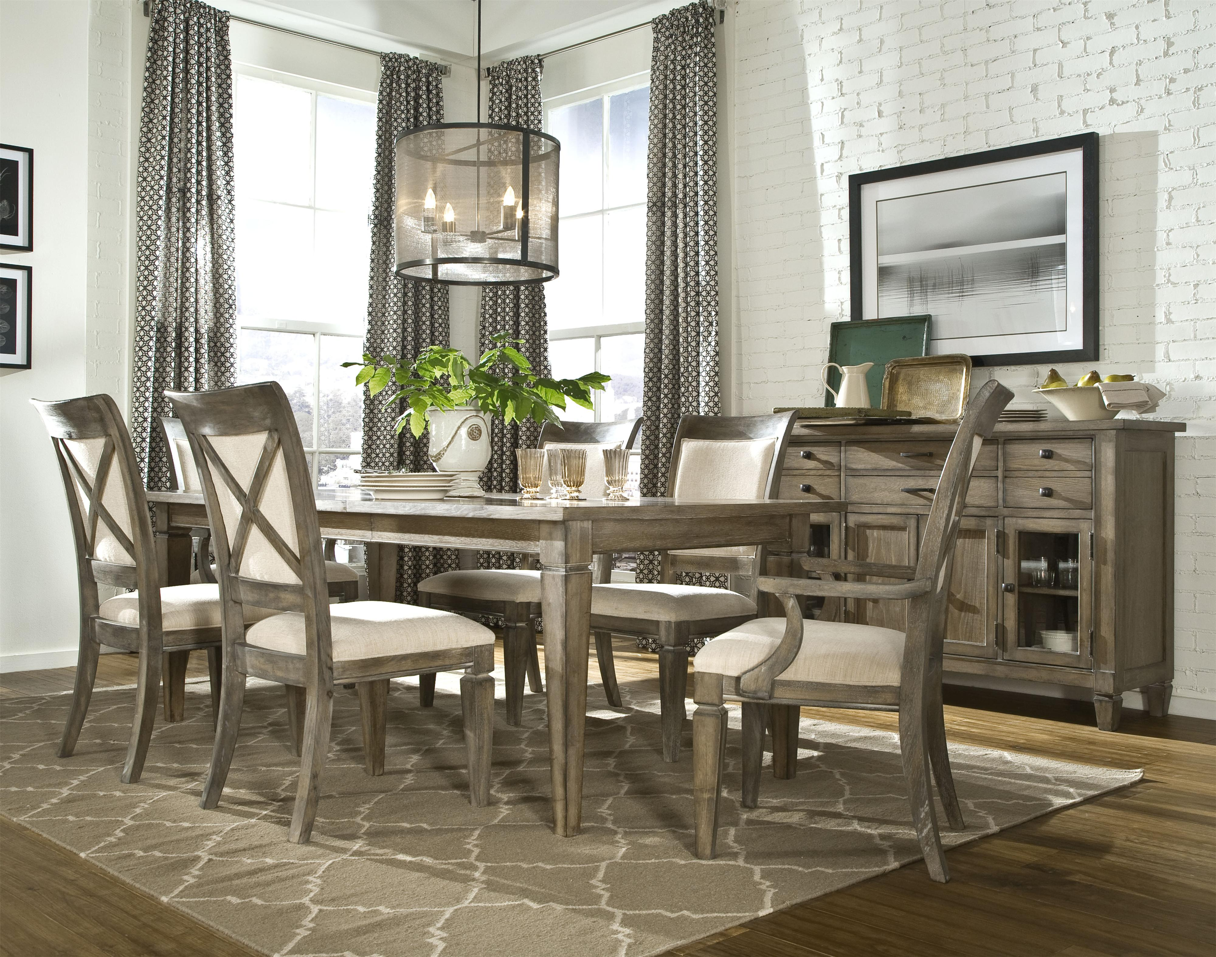 Upholstered Dining Side Chair with Exposed Wood